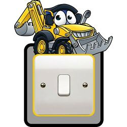 SR38 DIGGER CARTOON LIGHT SWITCH SURROUND YELLOW bedroom WALL ART DECAL COVER
