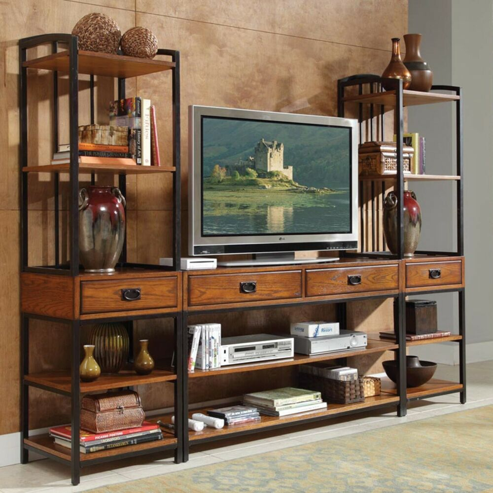Large Rustic Entertainment Center Cabinet Wall Unit Console Gaming