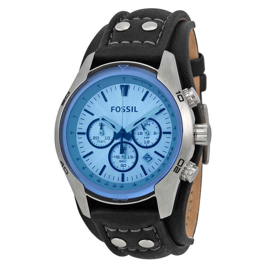 d66436a1717a1 Details about Fossil Blue Glass Chronograph Black Leather Strap Men s Watch  CH2564