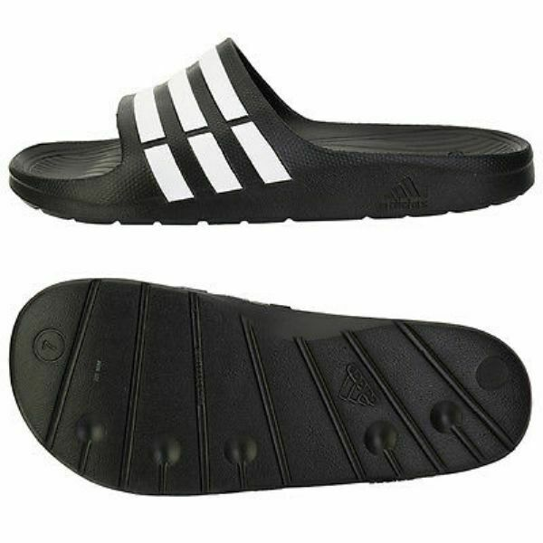 d5bf05378d2f Details about adidas Mens Duramo Black White Sliders Flip Flops Slides  Slippers Pool Shoes