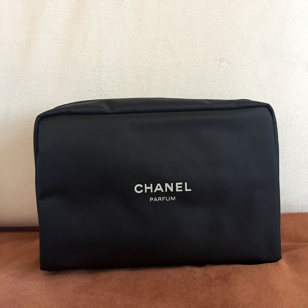 9f7bd1c1b9d3 Details about NEW** CHANEL Parfum Perfume Black Makeup Pouch Cosmetic Bag  VIP Gift