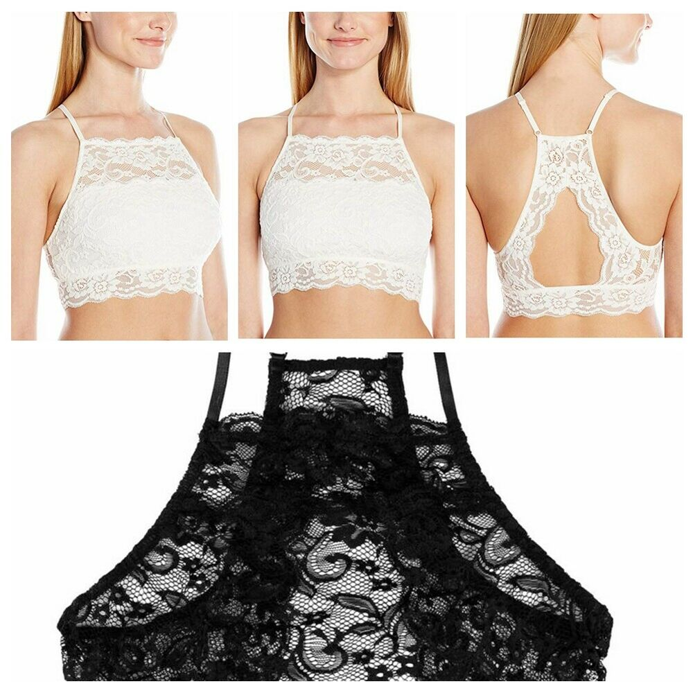 0c11f0bae6e Details about Women Sexy Spaghetti Straps Lace Bralet Tank Top Blouse Crop  T-Shirt Cami Tops
