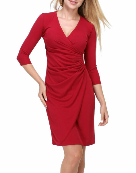 Revdelle - Robe Cache Coeur Col V Made In France Manches Longues Pour Femme Myr