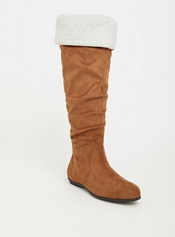 e8b8c2bc019 Details about Torrid COGNAC SHEARLING FAUX SUEDE KNEE HIGH BOOT WIDE WIDTH    WIDE CALF Size 9