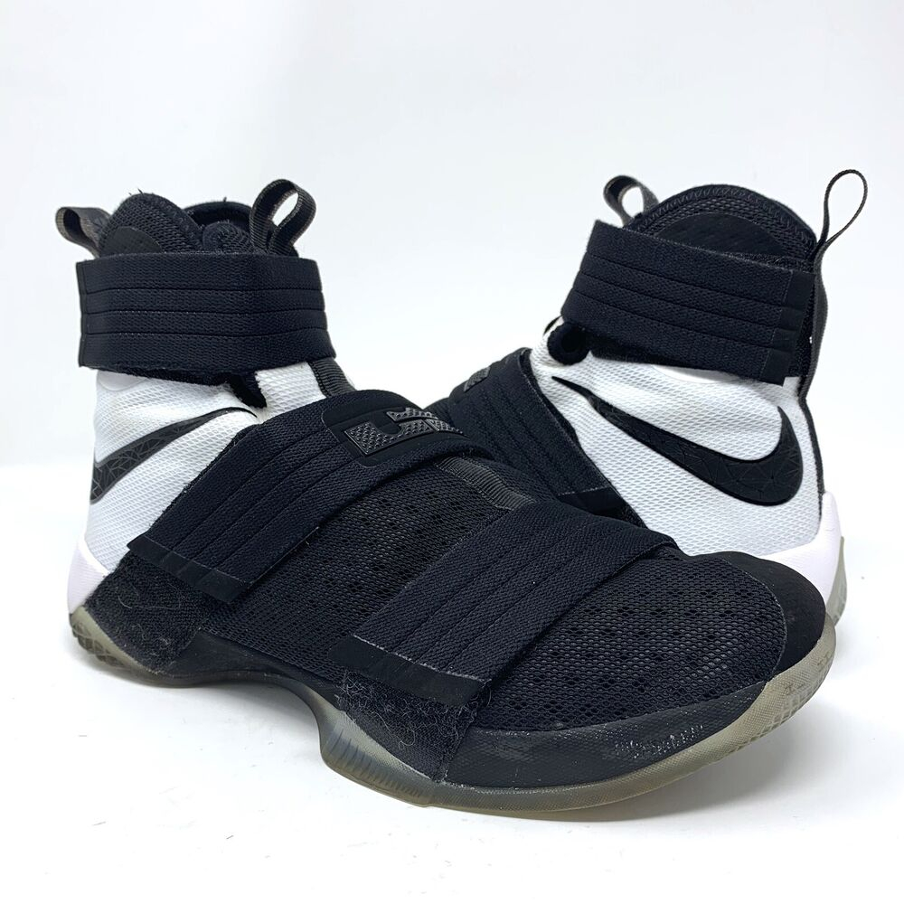 low priced 4797f ff48a Details about NIKE LEBRON SOLDIER 10 X SFG Men s Basketball Shoes  844378-001 Black White Sz 9