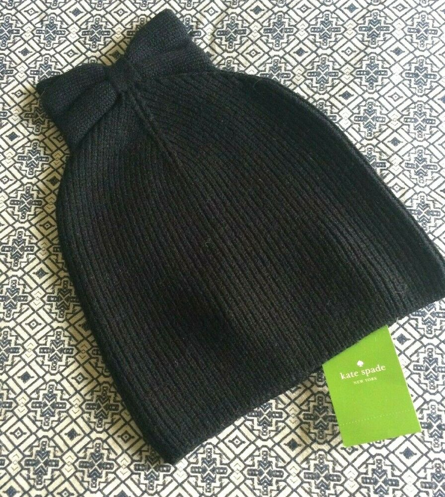 279ef791501 Details about NEW Kate Spade New York Hat Solid Bow Beanie Black with Tags  Acrylic   Wool