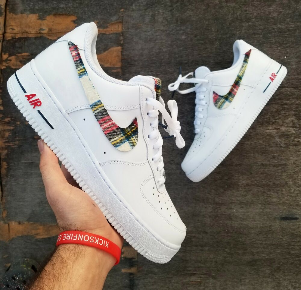 super popular e5757 37577 Details about nike air force 1 white custom  flannel swooshes  available in  all sizes