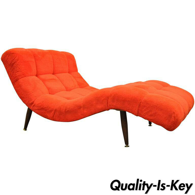 Details About Mid Century Modern Double Wide Red Wave Chaise Lounge Attr To Adrian Pearsall