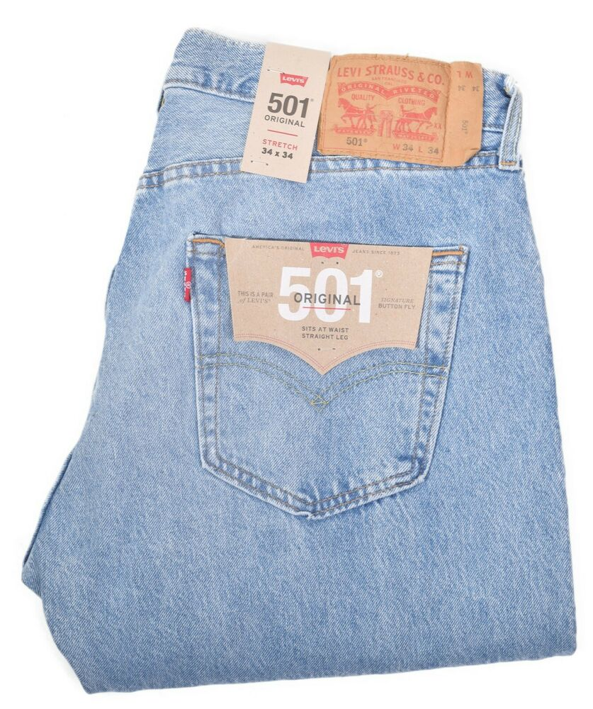 5fef14df Details about Levis 501 Mens Button Fly Stretch Distressed Blue Denim Jeans  Choose Size
