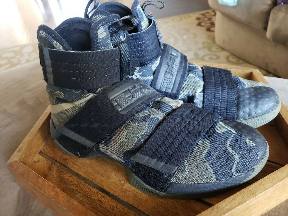 competitive price 8af80 385f3 Details about NIKE LEBRON SOLDIER 10 SFG Mens Camo Green Black Bamboo 844378 -022 Sz 8