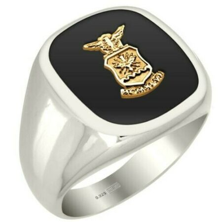 img-New Men's 0.925 Sterling Silver USAF US Air Force Military Solid Back Ring