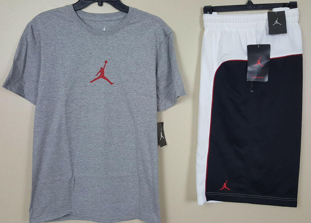 ea601a73815 Details about NIKE AIR JORDAN JUMPMAN OUTFIT SHIRT + SHORTS GREY BLACK RED  NEW (SIZE MEDIUM)