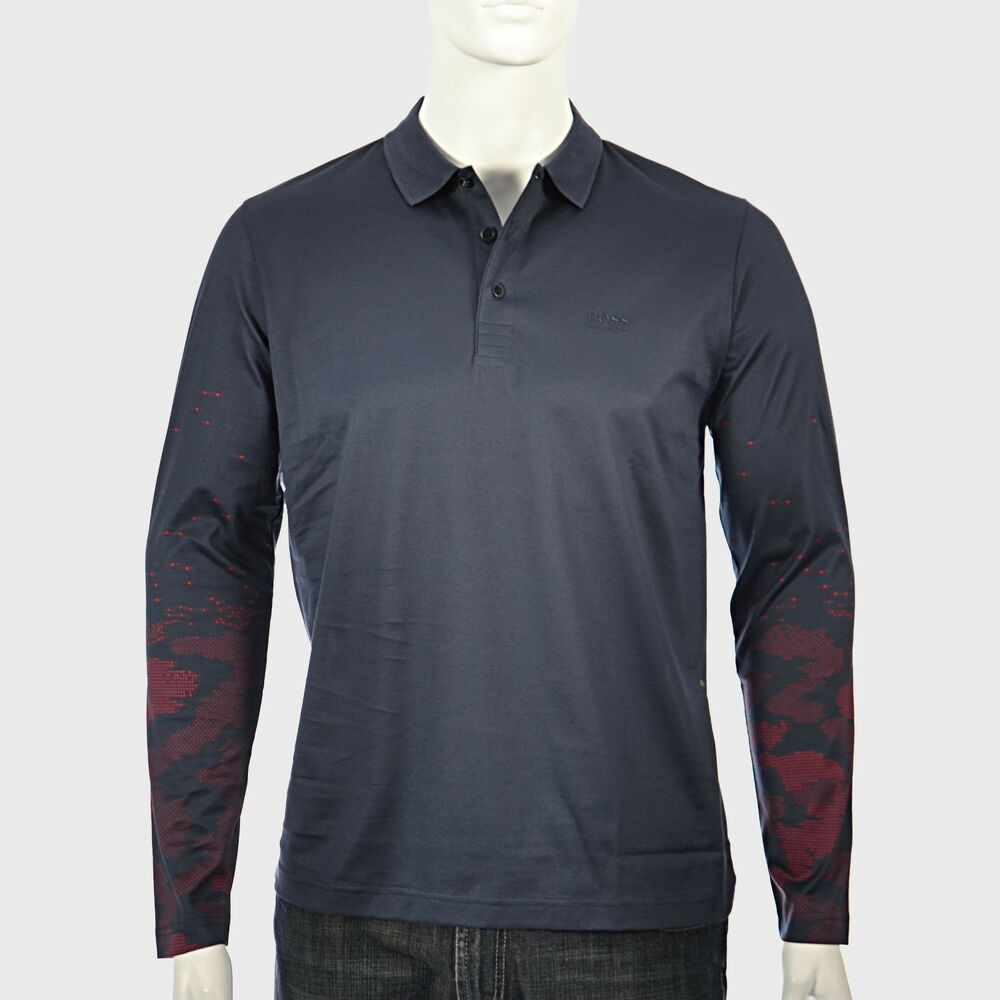67c2982c85f Details about Hugo Boss Blue Navy Long Sleeve Polo Model plisy 2 100% cotton