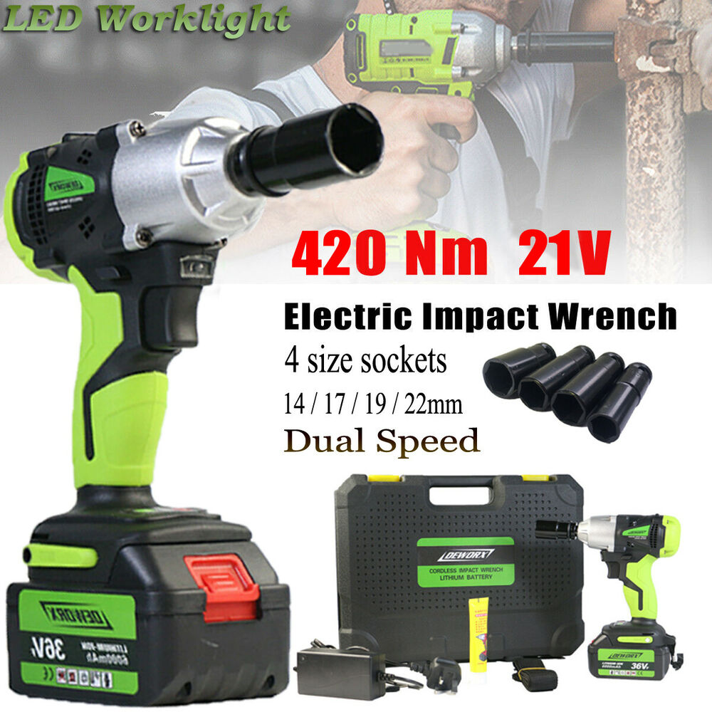 Details About 460nm Electric Cordless Impact Wrench Gun Driver Tool Battery Fast Charger Case