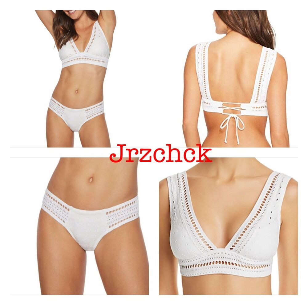 d7f04941e0 Details about NWT Robin Piccone 2 PC Cami Bikini Bathing Suit Swimsuit Set  SZ M White Swimwear