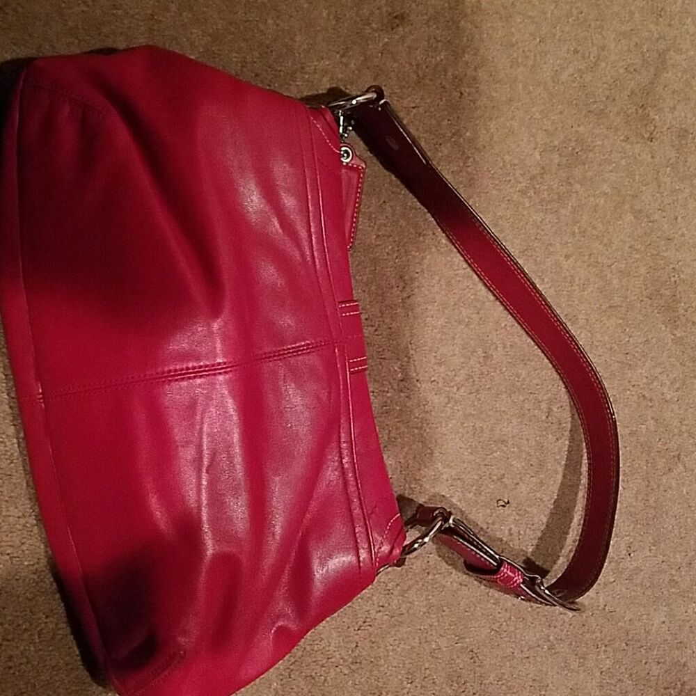 086f84813c Details about Red Leather Coach Purse