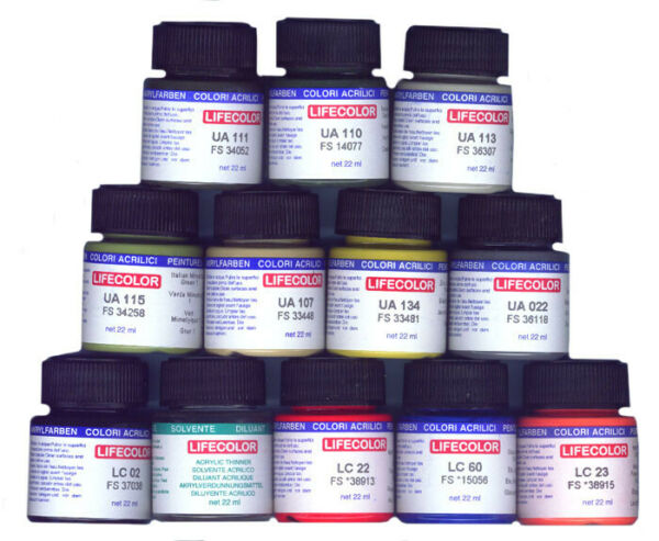 COLORI ACRILICI 22ml  VERNICE MODEL LIFECOLOR SERIE CAMOUFLAGE DIORAMA PIGMENTS
