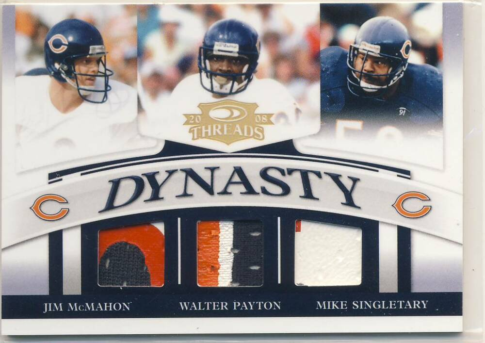 2b9309a3a19 Details about 2008 Donruss Threads WALTER PAYTON MIKE SINGLETARY JIM MCMAHON  PATCH /50 BEARS