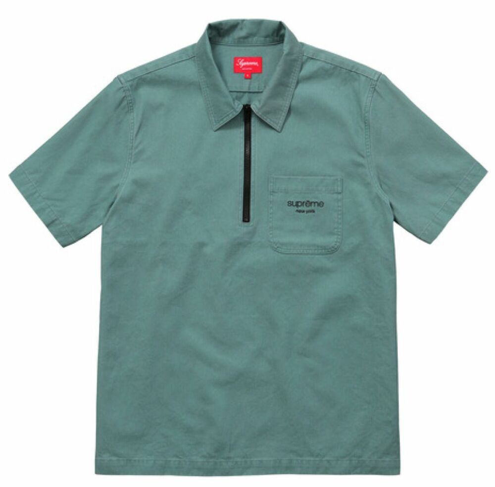 260292d1851 Details about Supreme SS16 Twill Half Zip Shirt Green Large Polo Classic  Box Logo Stripe Rugby