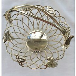 Vintage Godinger. Basket, Silver Plated  Wire. Grapes L 11,5''top  NEW PRICE $ 15