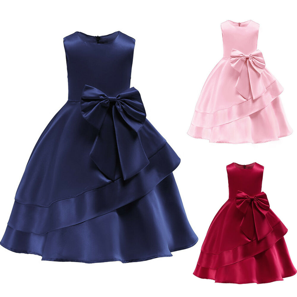fcd914d785 Kids Baby Girls Bowknot Princess Dress Party Bridesmaid Wedding ...
