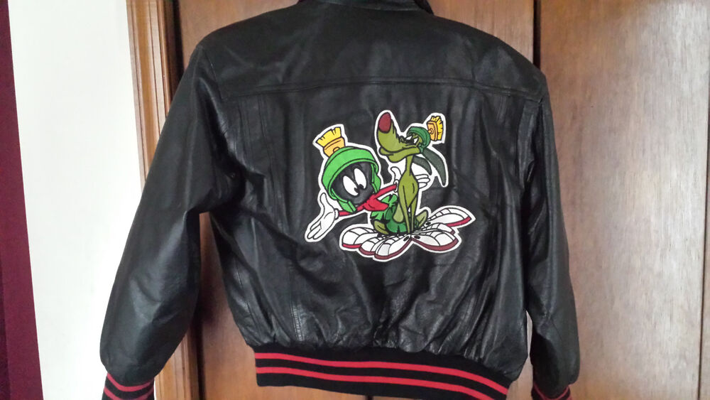 a33694be6041b7 Details about Looney Tunes SPACE JAM Marvin Martian K-9 LEATHER Jacket  Vintage  90 s