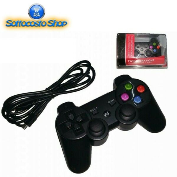 CONTROLLER PLAYSTATION JOYSTICK PAD COMPATIBILE PER PS3 PS2 E PC CON CAVO USB