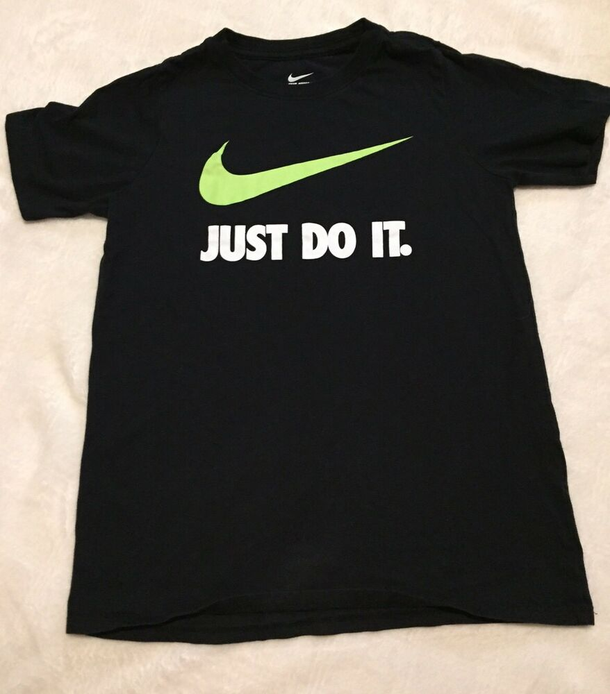eab8a77f Details about Nike Boys Large Black T-shirt Green Logo Just Do It