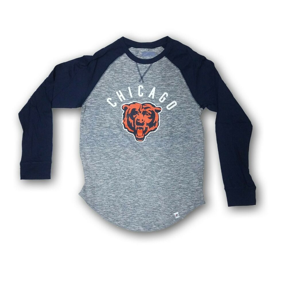 78366c99 Details about Chicago Bears Men's Majestic Gray/Navy Blue Long Sleeve T- shirt NWOT