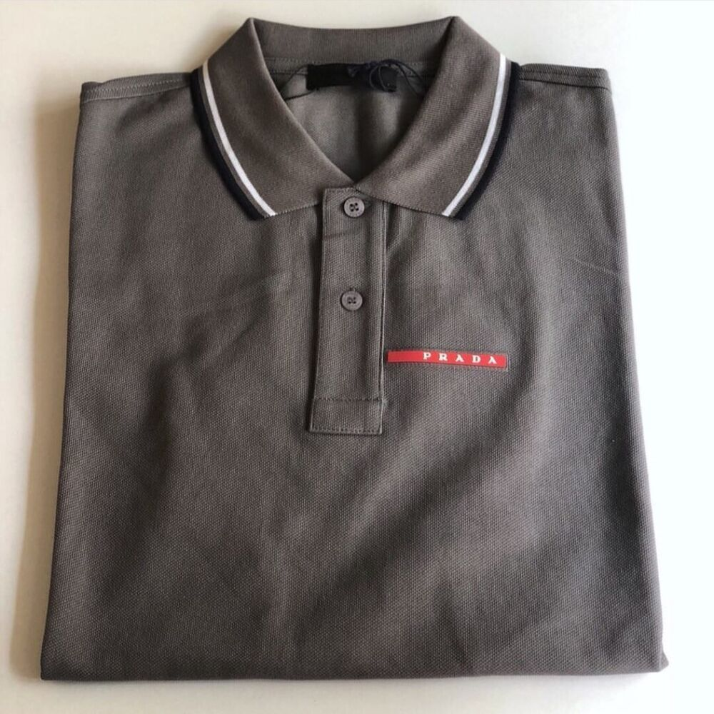 debbb74c Details about PRADA Men's Polo Shirt 100% Cotton Grey Short Sleeve New With  Tag