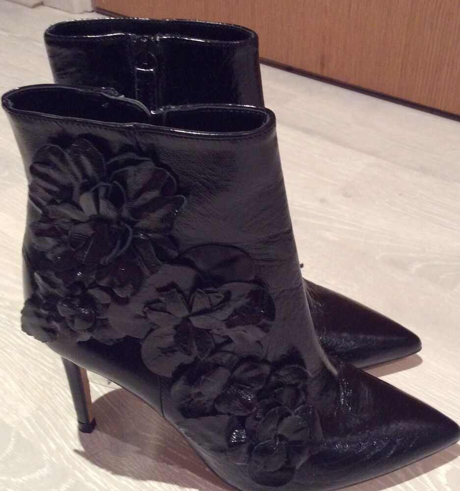 new & pre-owned designer elegant shape superior performance ZARA PATENT LEATHER HIGH HEEL ANKLE BOOTS WITH FLORAL TRIMS BNWT | eBay