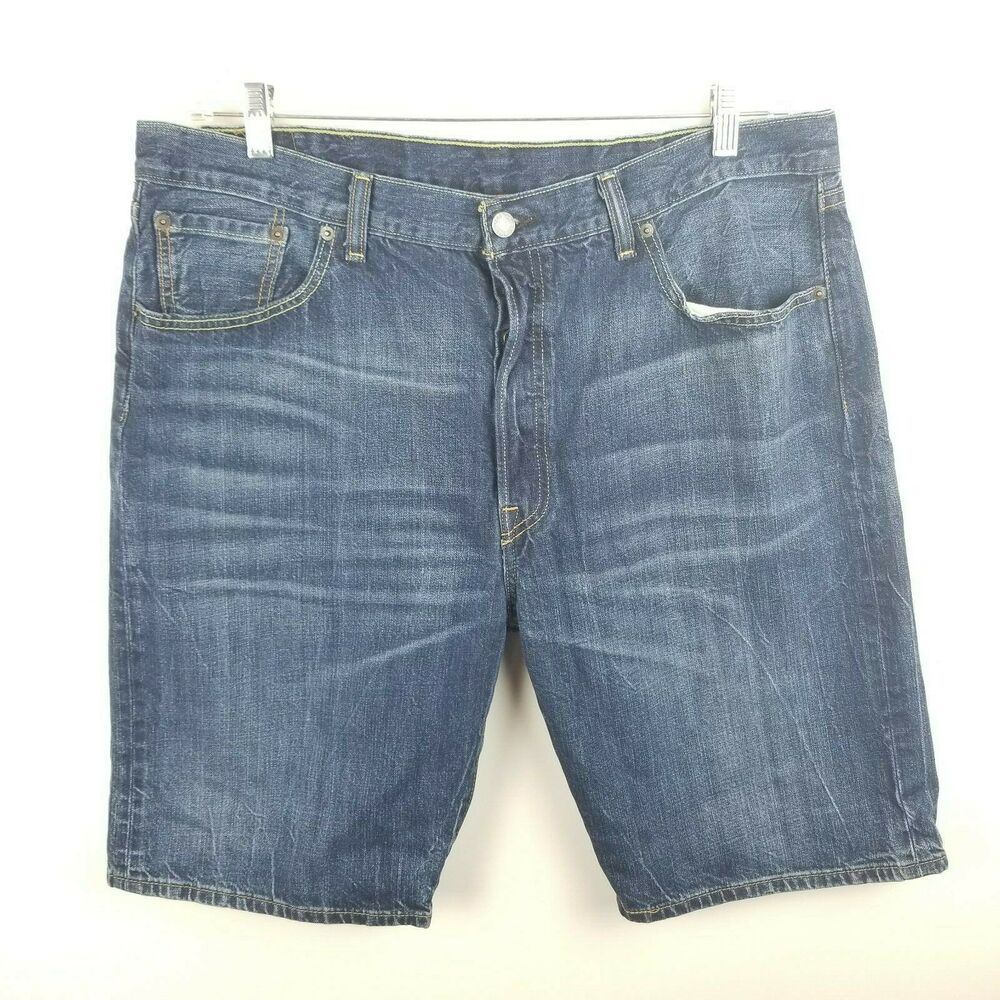 d7ed72f65cd Details about Levis 501 Denim Shorts Button Fly Mens Big Tall Size 38 Dark  Blue Pockets Jeans