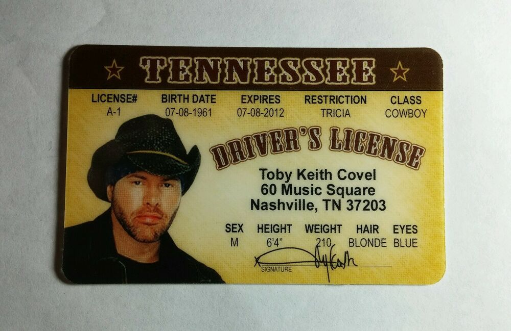 ef1a17fc86739 TOBY KEITH COVEL NASHVILLE TENNESSEE COSPLAY SOUVENIR DRIVERS BADGE CARD  LICENSE