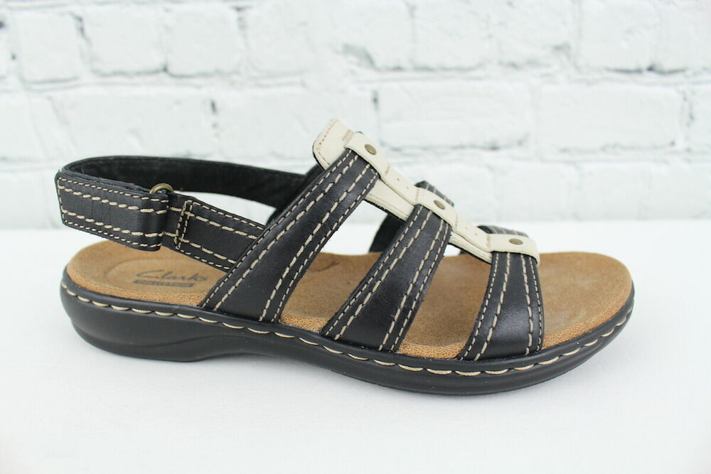263973fe0447 Details about Clarks Leisa Daisy Womens Black Slingback Sandals Size 5.5M