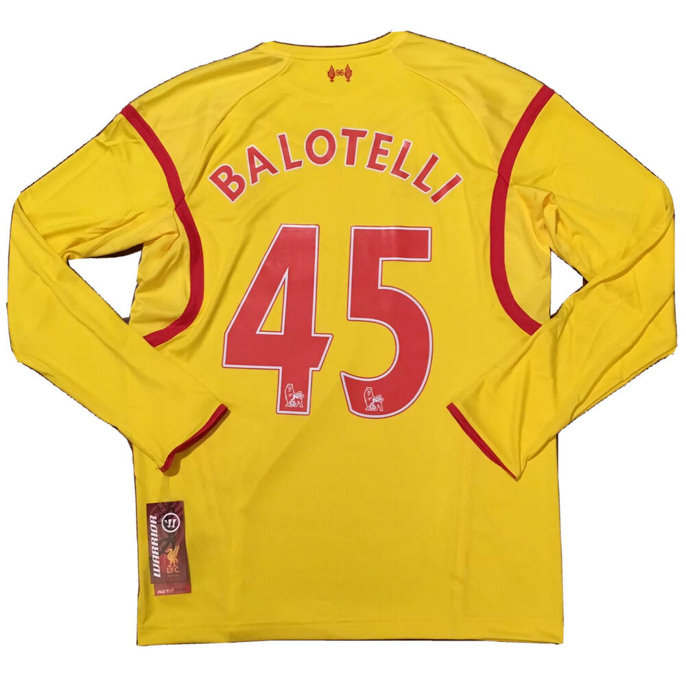 0d9f5c1e2 Details about 2014 15 Liverpool Away Jersey  45 BALOTELLI Large Long Sleeve  Italy Warrior NEW