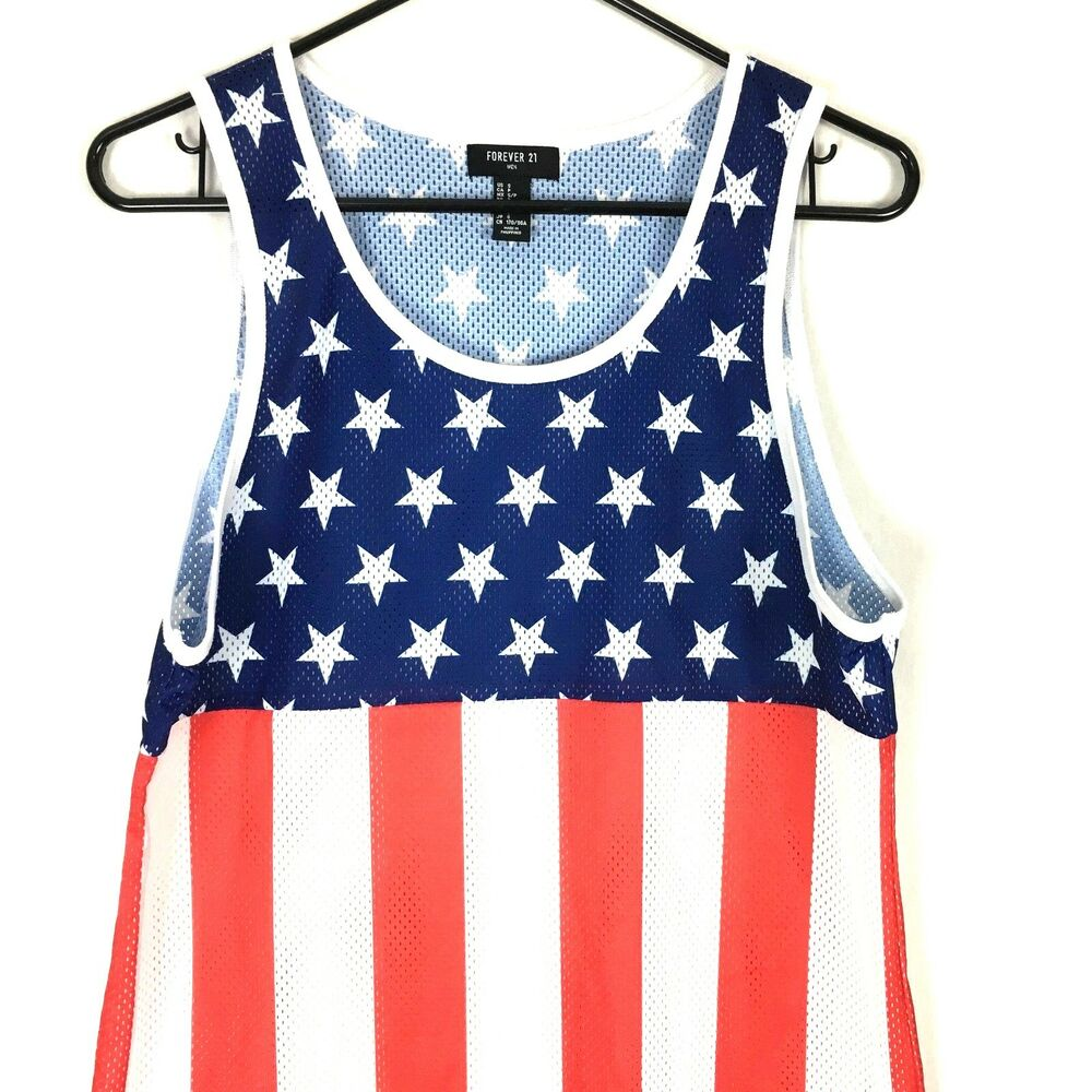 b1a5ce7db1a12 Details about Forever 21 Mens Tank Top Small S Red White Blue Flag Stars  Mesh Athletic Shirt