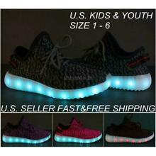 c43a456a36d520 Kids Youth LED Light Up Sneakers Luminous Shoes Boys Girls USB Charger Lace  Up
