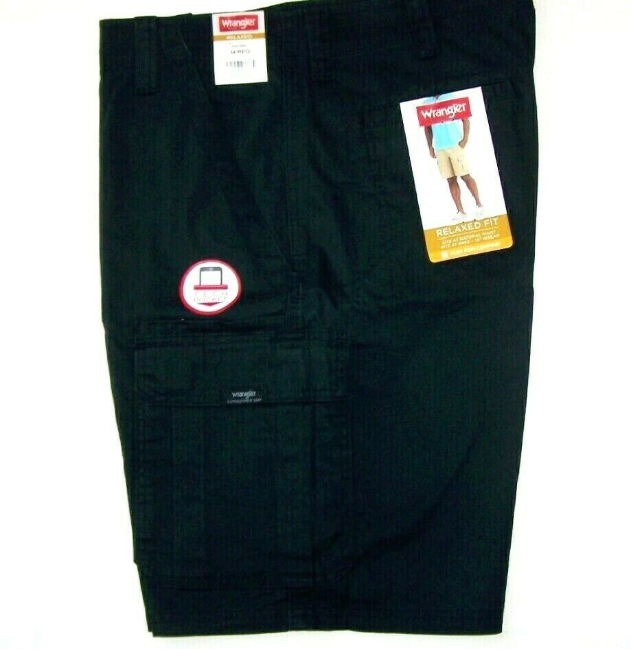 bac871f4a0 Details about Men's Wrangler Flex Cargo Shorts Relaxed Fit w Tech Pocket  Black ALL SIZES 34-50
