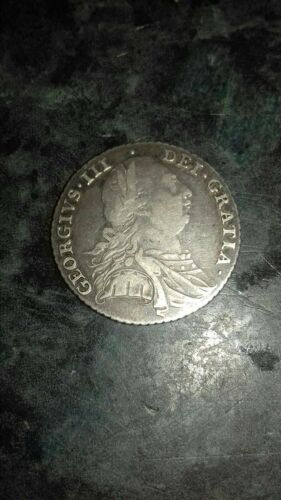 Antique George III 1787 silver shilling. better than vf . Collectors piece