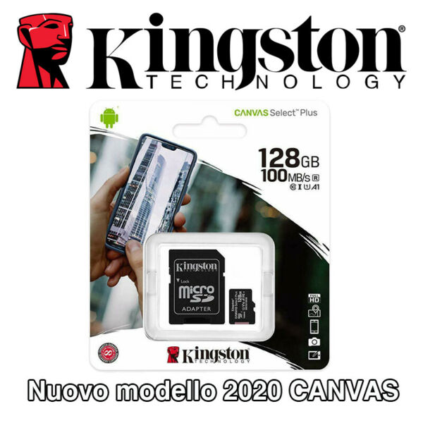 KINGSTON Micro SD 128 GB classe 10 MICROSD 80 MB/S Canvas SCHEDA MEMORIA SDCS