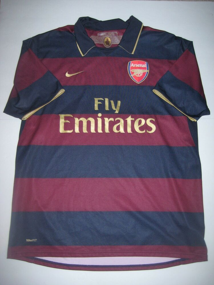 1f741900e Details about Nike Herbert Chapman Arsenal FC 2007-2008 Short Sleeve  Authentic Away Jersey
