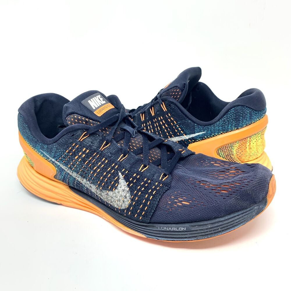 on sale c1a14 00aa0 Details about NIKE LUNARGLIDE 7 Mens Running Shoes 747355-400 Obsidian Blue  White Orange Sz 13