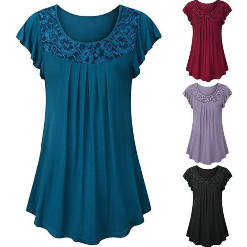 Women Lace Swing Short Sleeve Tunic Tops Blouses Loose Plus Size T-Shirt Dress