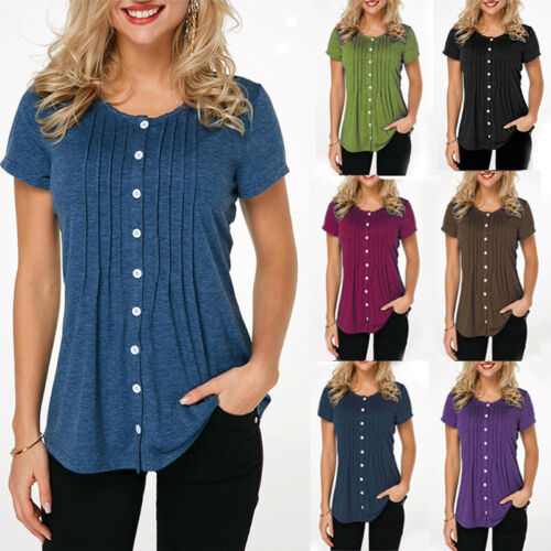 Womens Button Short Sleeve Solid Tunic Tops Blouses Loose Plus Size T-Shirt