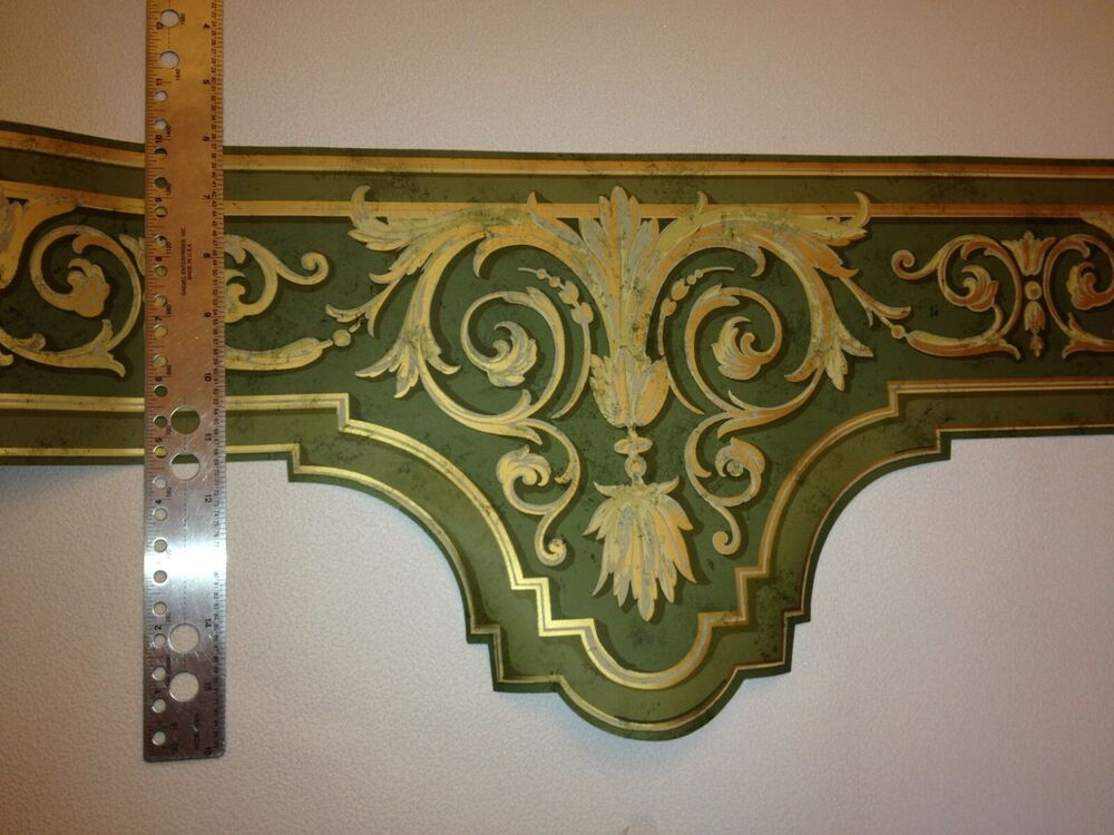 Green gold laser cut crown molding prepasted wallpaper border aw80105dc ebay - Crown molding wallpaper ...
