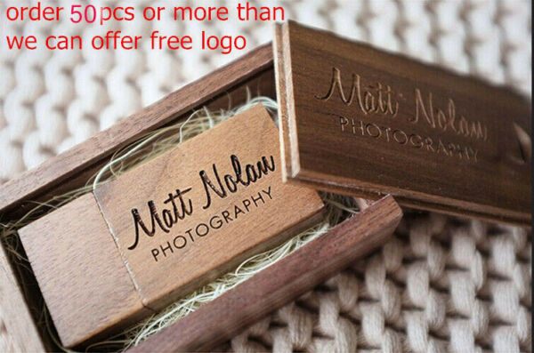 Customized Box Walnut Wooden USB 2.0 Flash Drive Gift Pendrive 16GB 8GB WJ LOT