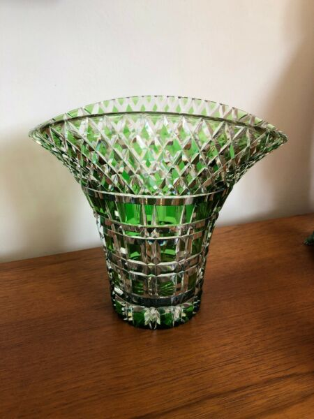 Vintage Art Deco Quality Green Flashed Cut Crystal Glass Basket Vase Bohemian?