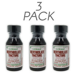 Germa Merthiolate Tincture. Antiseptic for Minor Injuries. 1 Oz. Red. Pack of 3
