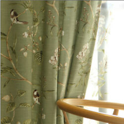 Pastoral Bird Printed Curtain Panel Drapes Sheer Tulle Voile Curtain 1 piece