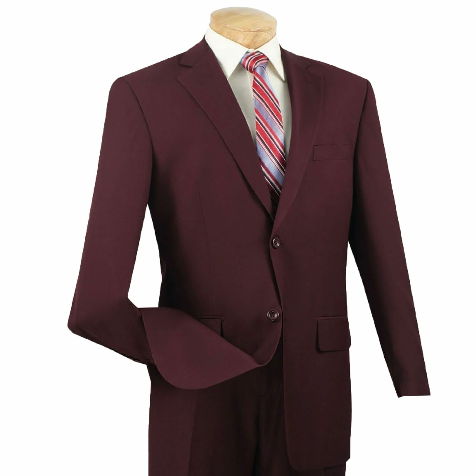 Vinci Men's Burgundy Textured Solid 2 Button Classic Fit Business Suit